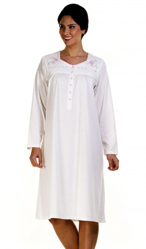 La Marquise Cotton Rich Spot Long Sleeve Nightdress